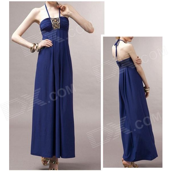 SW-8989 Fashionable Crystal Hemp Halter Maxi Dress - Sapphire Blue (M) - DXDresses<br>Color Sapphire Blue Size M Model SW-8989 Quantity 1 Piece Shade Of Color Blue Material Crystal hemp Style Fashion Shoulder Width Universal cm Chest Girth 78~92 cm Waist Girth Universal cm Hip Girth Universal cm Total Length 115 cm Suitable for Height 162~178 cm Packing List 1 x Dress<br>