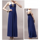 SW-8989 Fashionable Crystal Hemp Halter Maxi Dress - Sapphire Blue (M)