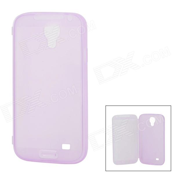 MST-S4 Protective Flip Open TPU Case w/ Anti-dust Plug for Samsung Galaxy S4 i9500 - Light Purple protective pc tpu back case for iphone 5 w anti dust cover lavender purple