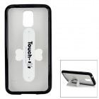 PC + TPU Matte Back Case + ''U'' Shaped Stand for Samsung Galaxy S5 - Black + White
