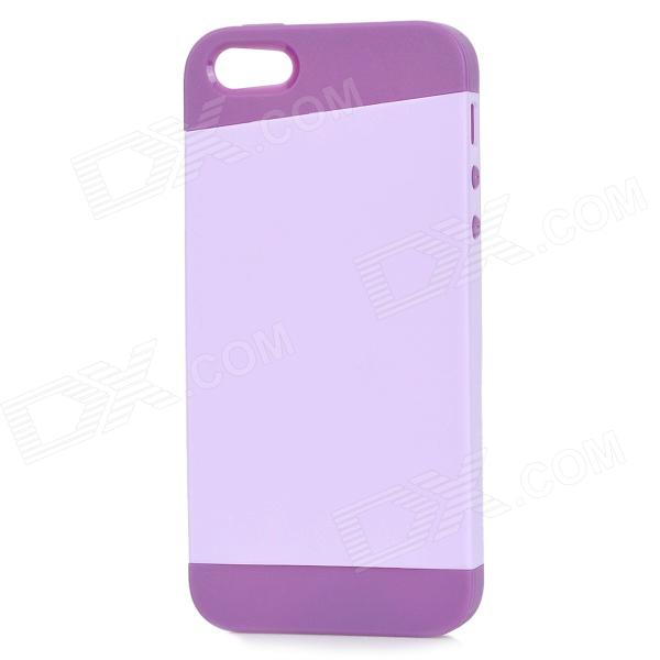 Protective PC + TPU Back Case for IPHONE 5 w/ Anti-dust Cover - Lavender + Purple protective pc tpu back case for iphone 5 w anti dust cover white light green