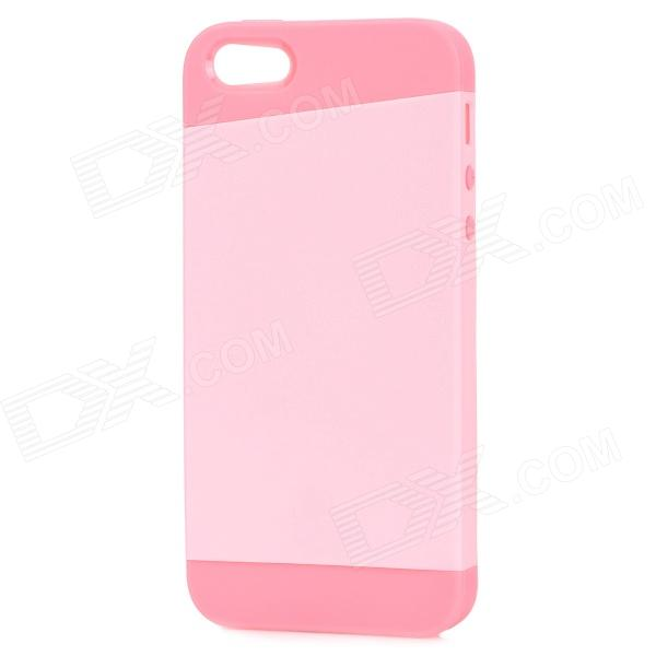 Protective PC + TPU Back Case for IPHONE 5 w/ Anti-dust Cover - Deep Pink + Light Pink protective pc tpu back case for iphone 5 w anti dust cover white light green