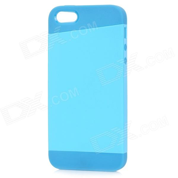 Protective PC+TPU Back Case for IPHONE 5 w/ Anti-dust Cover - Light Blue + Blue protective pc tpu back case for iphone 5 w anti dust cover white light green