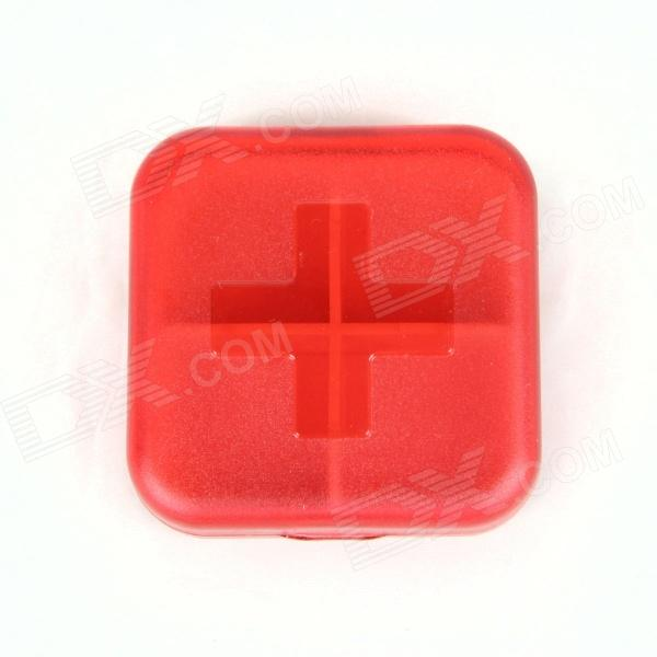 4-Compartemtn Medicine Pill Case Box - Red high quantity medicine detection type blood and marrow test slides