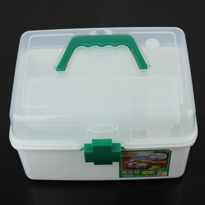 Practical Medicine Pill Box Case - Transparent + Green (Large) practical 3 section medicine storage box small