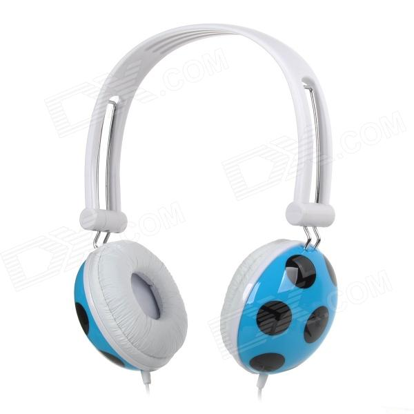 E-503 3.5mm Stereo Headband Style Earphone for MP3 / MP4 / Computer - White + Blue (120cm)