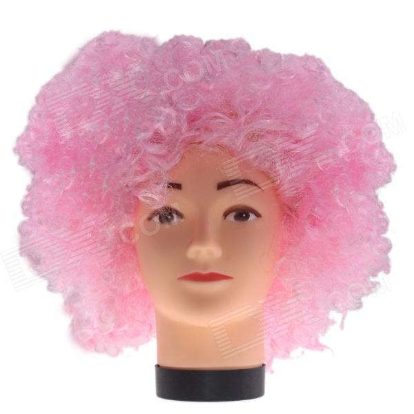 2014 World Cup Fans Explosion Hair Curly Party Wig - Pink