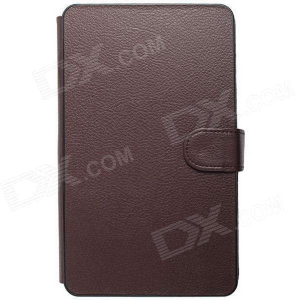 "Micro USB Connected Keyboard PU Leather + Plastic Case Cover Stand for 7""~7.85"" Tablet PC - Brown"
