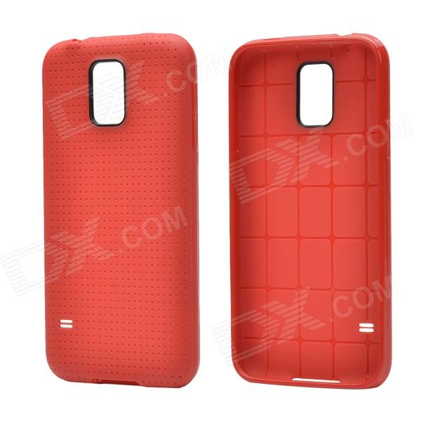 Plaid Pattern Protective TPU Back Case for Samsung Galaxy S5 - Red cm001 3d skeleton pattern protective plastic back case for samsung galaxy s4