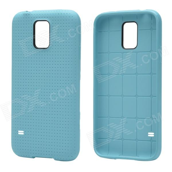Plaid Pattern Protective TPU Back Case for Samsung Galaxy S5 - Aquamarine cm001 3d skeleton pattern protective plastic back case for samsung galaxy s4