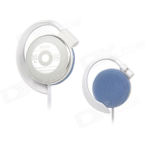 KEEKA KA-27 3.5mm Stereo Ear-hook Style Earphone for MP3 / MP4 / Computer - White + Silver (120cm)