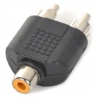 LSON RCA Female to 2 x RCA Male Adapters - Black + Silver (5PCS)