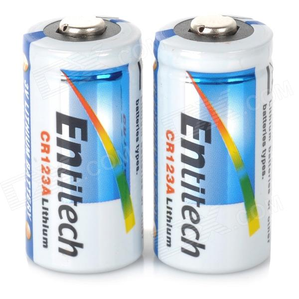 Entitech CR123A 3V Li-ion Battery - White + Blue + Multi-Colored (2 PCS)