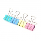JIN SI HOU 8555 Convenient Stainless Steel + Iron Binder Clips - Blue + Yellow + Pink (40 PCS)
