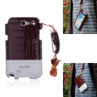 Newtop Soft-Touch Protective PU Leather Case w/ Strap for Samsung Note 2 N7100 - Red Brown