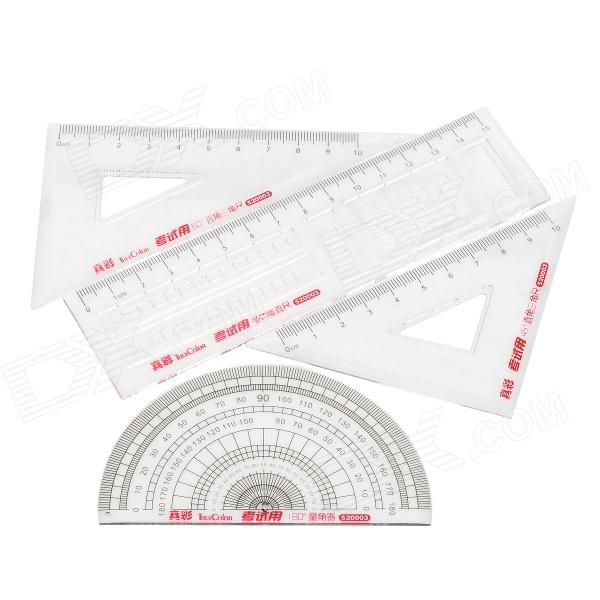 TRUE COLOR 520003 Convenient Plastic Ruler Set - Transparent + Black