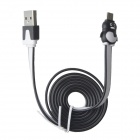 Penguin Style USB to Micro USB Data Sync / Charging Flat Cable for Samsung - Black + White (100cm)