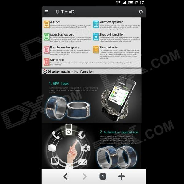 Smart NFC Ring for Smart Phone / Unlock Door - Black + Silver  (Circumference 66mm)