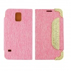 Fashion & Stylish PU Leather + Rhinestone Case w/ Card Slots for Samsung Galaxy S5 - Pink