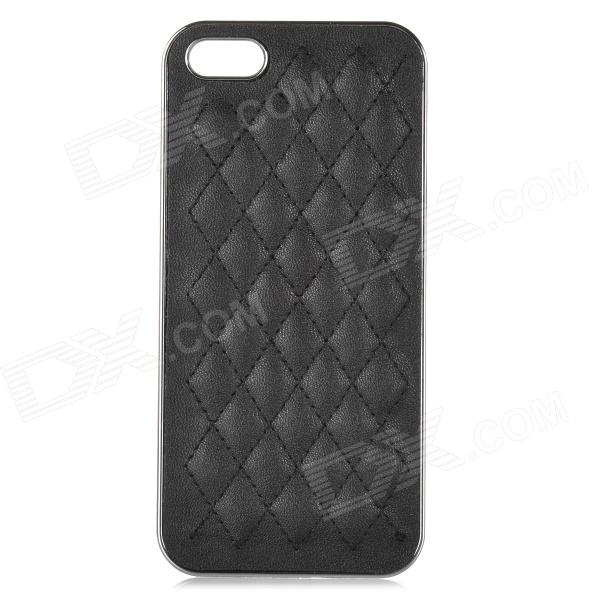 Stylish Rhombus Pattern Protective PU + Resin Back Case for IPHONE 5 / 5S - Black 3d water lines pattern protective pc back case for iphone 5 5c 5s black