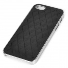 Stylish Rhombus Pattern Protective PU + Resin Back Case for IPHONE 5 / 5S - Black