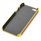 Stylish Cross Pattern Protective PC + Resin Back Case for IPHONE 5 / 5S - Brown + Gold Champagne