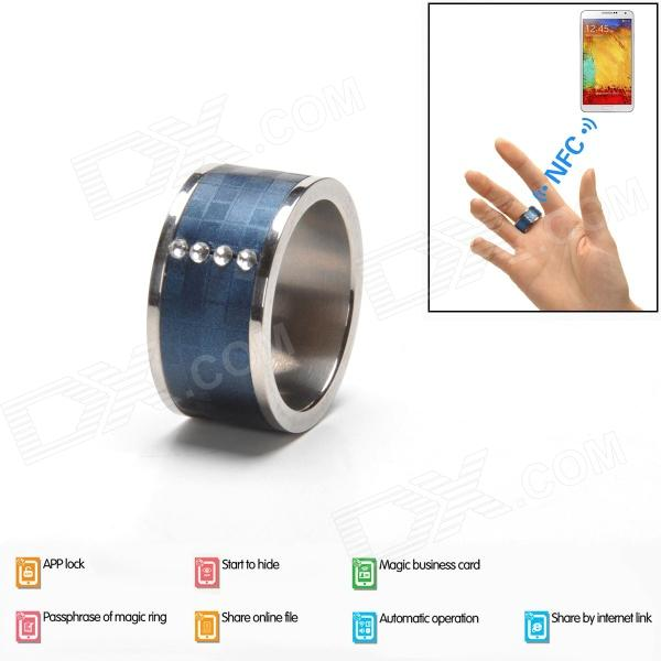 Intelligent Magic Ring with NFC for Smart Phone - Blue (Size 10)