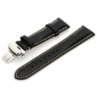 Chimaera CY-A-21 Replacement Leather Wristwatch Strap Watchband w/ Adjustable Buckle - Black