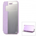 HELLO DEERE Protective PU + Acrylic Case w/ Stand / Auto-Sleep for IPHONE 5 / 5S - Purple
