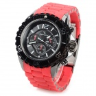 V6 v020 Men's Sports Analog Quartz Wrist Watch w/ Silicone Band - Black + Red (1 x 626)