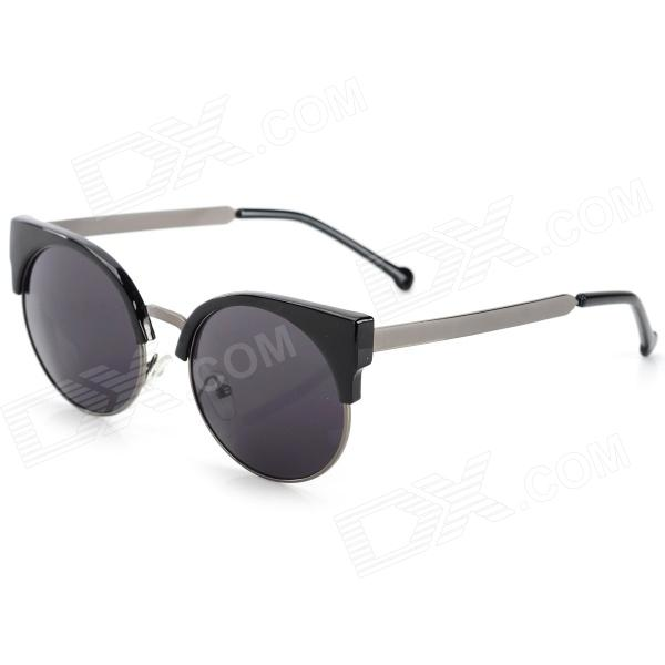 Stylish Cateye UV400 Protection Sunglasses w/ Cellulose Acetate Frame / PC Lens - Black + Grey oreka children s cool cellulose acetate frame blue revo lens uv400 sunglasses brown blue