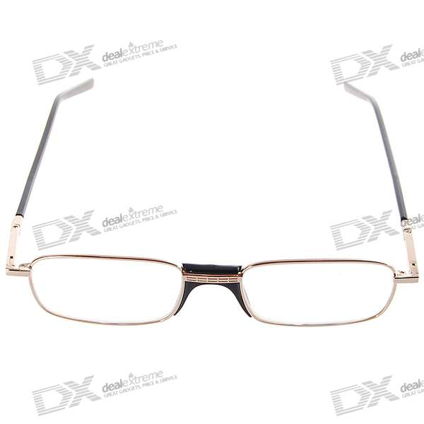White Brass Frame Glass Lens Reading Glasses with Hard Protective Case (+2.50D)