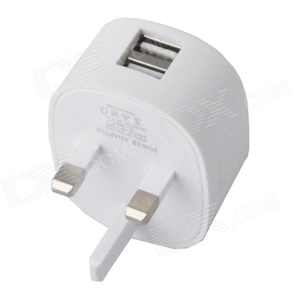 Universal Compact Dual USB 100~250V UK Plug AC Power Charging  Adapter - White цена и фото
