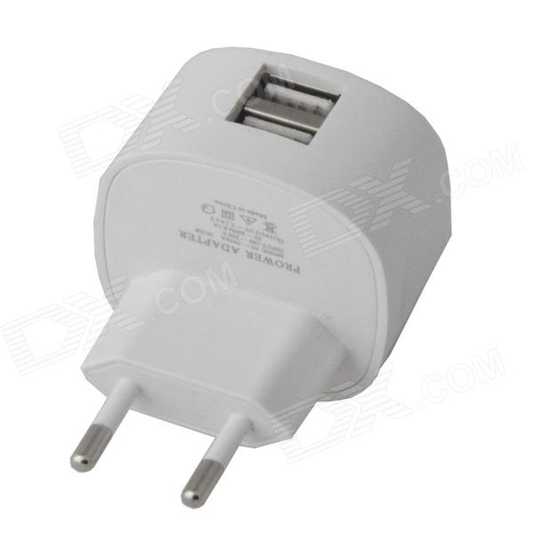 Universal Compact Dual USB AC Power Charger Adapter - White (100~260V / EU Plug) цена и фото