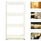 MH-7098 Household PP Assembling 4-Layer Storage Rack w/ Handle + Wheels - Ivory