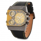 Oulm 9315 Creative Men's 3-Zone Time Display Quartz Analog Wrist Watch - Black + Yellow