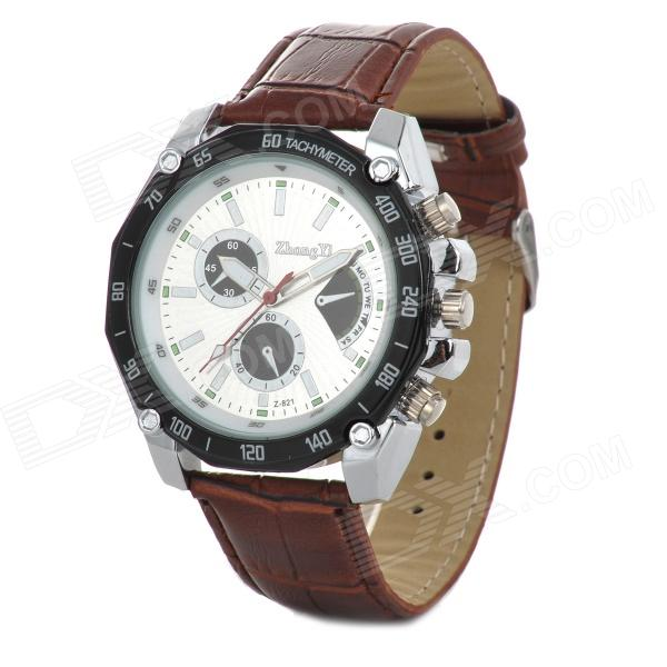 Zhongyi 821 Stylish PU Band Analog Quartz Wrist Watch - Brown + White + Multi-Colored (1 x 626)