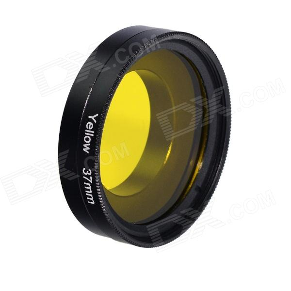 HighPro 37mm Yellow Color Correction Filter w/ Flip Converter for GoPro HERO 3 / 3+ - Black highpro precision cnc aluminum alloy 52mm lens converter ring for gopro hero3 housing black