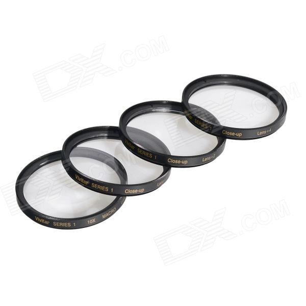 HighPro Close Up Macro Lens Kit (+1 / +2 / +4 / +10) Diopter Filters Set - Black (52mm)