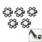 WaLangTing 1W / 2W / 3W 220lm 6500K LED White Aluminum Plate Lamp Bead - Black + Yellow (5 PCS)