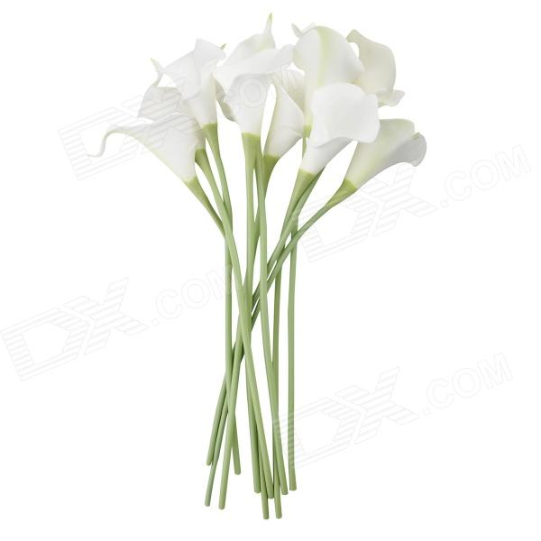 Mini PU Calla Lily Shaped Artificial Flowers - White (10 PCS)