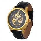 Buy Orkina A008 Men's Analog Self-winding Mechanical Wrist Watch Leather Band - Golden + Black