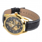 Orkina A008 Men's Analog Self-winding Mechanical Wrist Watch w/ Leather Band - Golden + Black