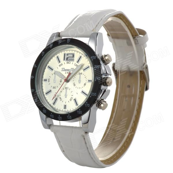 Zhongyi 820 Stylish Analog Quartz Wristwatch w/ PU Band - White + Silver (1 x 626)