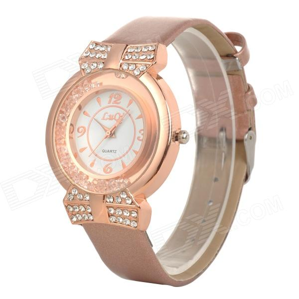 LUQI A08 Woman's Stylish Rhinestone Inlaid Analog Quartz Wristwatch - Rose Gold + White (1 x 626)