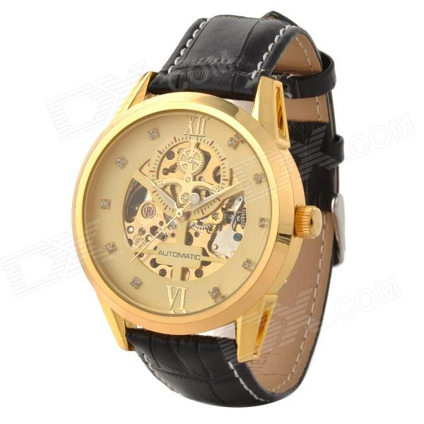 Orkina A008 Men's Analog Self-winding Mechanical Analog Wrist Watch w/ Leather Band - Golden + Black