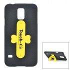 Fashion PC + TPU Back Case + ''U'' Shaped Stand for Samsung Galaxy S5 - Black + Yellow