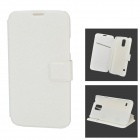 Fashion Protective Flip Open PC + PU Case w/ Stand / Card Slot for Samsung Galaxy S5 - White