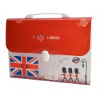 Flag of UK Pattern PVC Bag w/ 7 Separate Pockets - Transparent + Red