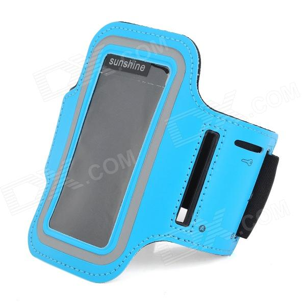 Sports Velcro Band Armband for Samsung Galaxy S4 Mini / i9190, Galaxy S3 Mini / i8190 - Black + Blue mooncase litchi skin золото chrome hard back чехол для cover lg g4 orange